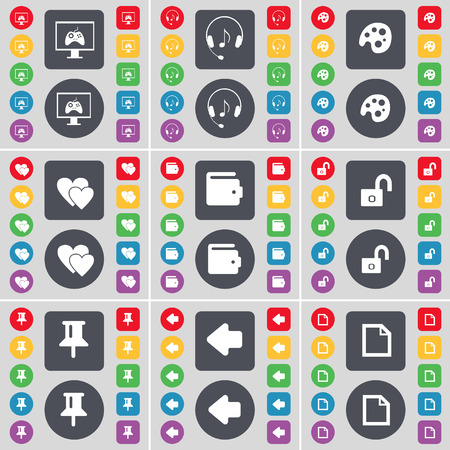 heart monitor: Monitor, Headphones, Palette, Heart, Wallet, Lock, Pin, Arrow left, File icon symbol. A large set of flat, colored buttons for your design. illustration