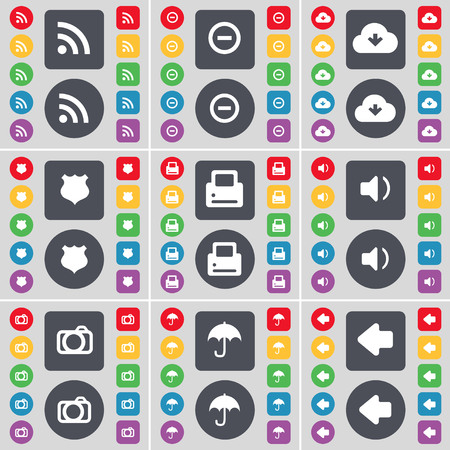 arrow left icon: RSS, Minus, Cloud, Police badge, Sound, Camera, Umbrella, Arrow left icon symbol. A large set of flat, colored buttons for your design. illustration