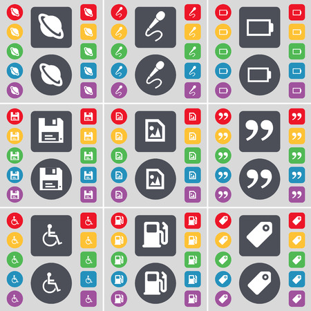disabled person: Planet, Microphone, Battery, Floppy, Media file, Quotation mark, Disabled person, Gas station, Tag icon symbol. A large set of flat, colored buttons for your design. illustration Stock Photo