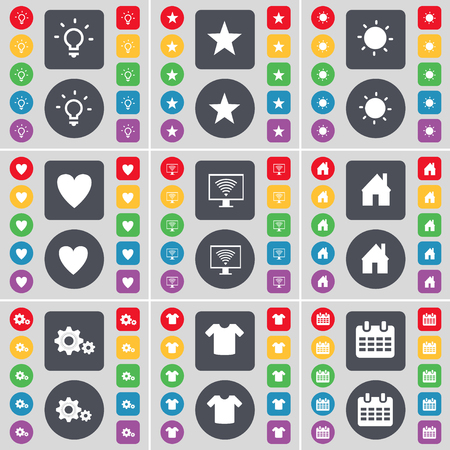 heart monitor: Light bulb, Star, Light bulb, Heart, Monitor, House, Gear, T-Shirt, Calendar icon symbol. A large set of flat, colored buttons for your design. illustration Stock Photo