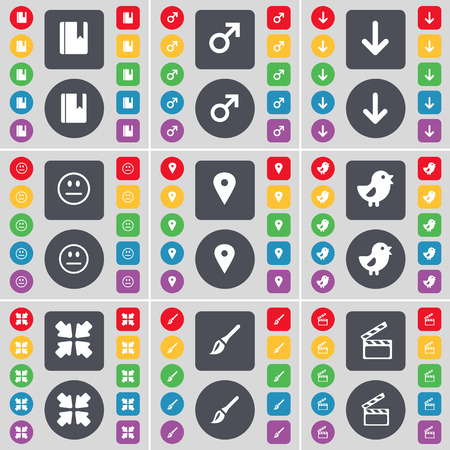 arrow down: Dictionary, Mars symbol, Arrow down, Smile, Checkpoint, Bird, Deploying screen, Brush, Clapper icon symbol. A large set of flat, colored buttons for your design. illustration Stock Photo