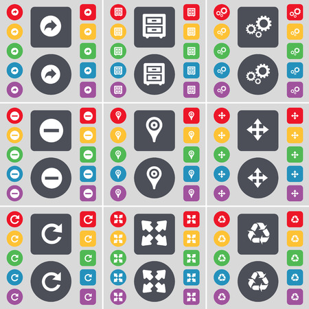 bedtable: Battery, Bed-table, Gear, Minus, Checkpoint, Moving, Reload, Full screen, Recycling icon symbol. A large set of flat, colored buttons for your design. illustration
