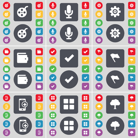 smartphone apps: Window, Microphone, Gear, Wallet, Tick, Flag, Smartphone, Apps, Tree icon symbol. A large set of flat, colored buttons for your design. illustration