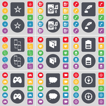 ink pot: Star, Speaker, Ink pot, Connection, Wallet, Battery, Gamepad, Chat cloud, Compass icon symbol. A large set of flat, colored buttons for your design. illustration