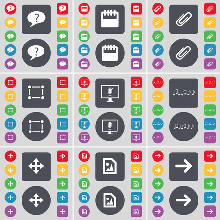 arrow right icon: Chat bubble, Calendar, Clip, Frame, Monitor, Note, Moving, Media file, Arrow right icon symbol. A large set of flat, colored buttons for your design. illustration
