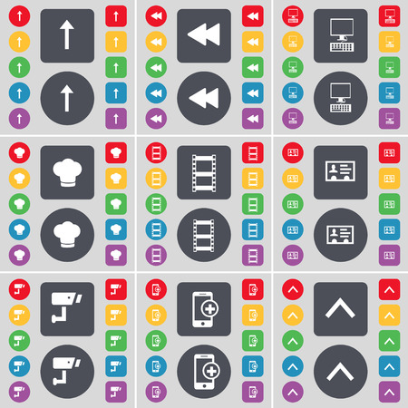 arrow up: Arrow up, Rewind, PC, Cooking hat, Negative films, Contact, CCTV, Tablet, Arrow up icon symbol. A large set of flat, colored buttons for your design. illustration Stock Photo