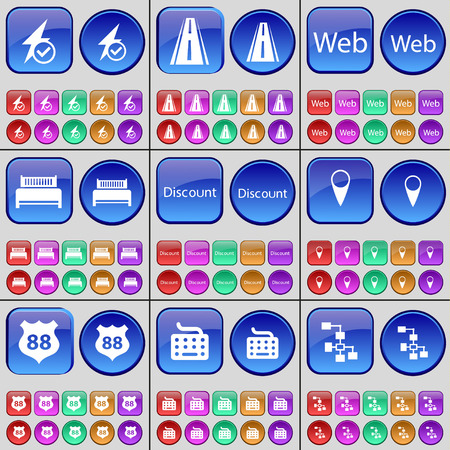 checkpoint: Flash, Road, Web, Bed, Discount, Checkpoint, Badge, Keyboard, Network. A large set of multi-colored buttons. illustration Stock Photo