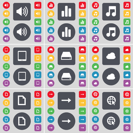 note pc: Sound, Diagram, Note, Tablet PC, Hard drive, Cloud, File, Arrow right, Web cursor icon symbol. A large set of flat, colored buttons for your design. illustration
