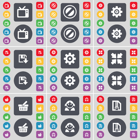 retro tv: Retro TV, Stop, Gear, Floppy, Deploying screen, Basket, Avatar, ZIP file icon symbol. A large set of flat, colored buttons for your design. illustration