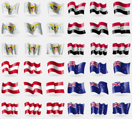 new zeland: VirginIslandsUS, Syria, Austria, New Zeland. Set of 36 flags of the countries of the world. illustration