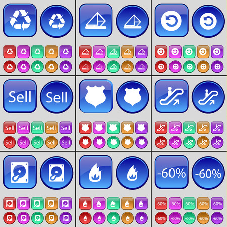 hard sell: Recycling, Message, Power, Sell, Police badge, Escalator, Hard drive, Fire, Discount. A large set of multi-colored buttons. illustration