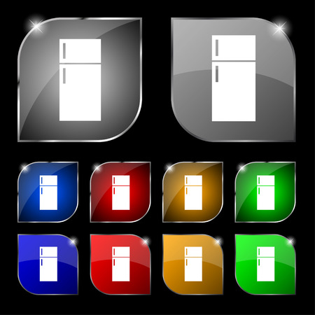 cold storage: Refrigerator icon sign. Set of ten colorful buttons with glare. illustration