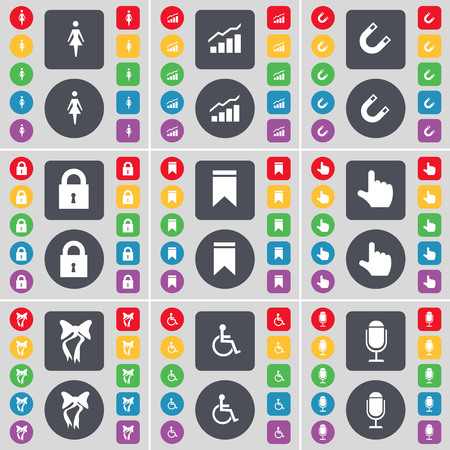 disabled person: Silhouette, Graph, Magnet, Lock, Marker, Hand, Bow, Disabled person, Microphone icon symbol. A large set of flat, colored buttons for your design. illustration