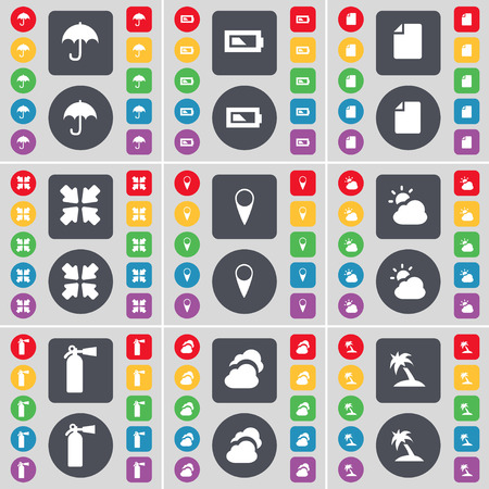 fire extinguisher symbol: Umbrella, Battery, File, Deploying screen, Checkpoint, Cloud, Fire extinguisher, Cloud, Palm icon symbol. A large set of flat, colored buttons for your design. illustration