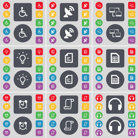 disabled person: Disabled person, Satellite dish, Connection, Light bulb, Text file, Alarm clock, Scroll, Headphones icon symbol. A large set of flat, colored buttons for your design. illustration
