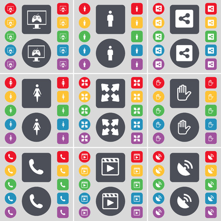 media player: Monitor, Silhouette, Share, Full screen, Hand, Receiver, Media player, Satellite dish icon symbol. A large set of flat, colored buttons for your design. illustration Stock Photo