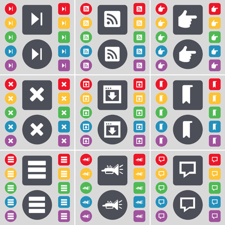 hand stop: Media skip, RSS, Hand, Stop, Window, Marker, Apps, Trumped, Chat bubble icon symbol. A large set of flat, colored buttons for your design. illustration