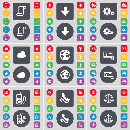 mp3 player: Scroll, Arrow down, Gear, Cloud, Earth, Picture, MP3 player, Receiver, Scales icon symbol. A large set of flat, colored buttons for your design. illustration