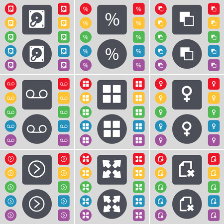 venus: Hard drive, Percent, Copy, Cassette, Apps, Venus symbol, Arrow right, Full screen, File icon symbol. A large set of flat, colored buttons for your design. illustration