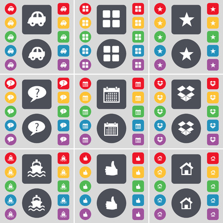 dropbox: Car, Apps, Star, Chat bubble, Calendar, Dropbox, Ship, Like, House icon symbol. A large set of flat, colored buttons for your design. illustration