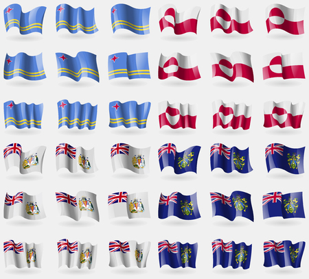 antarctic: Aruba, Greenland, British Antarctic Territory, Pitcairn Islands. Set of 36 flags of the countries of the world. illustration