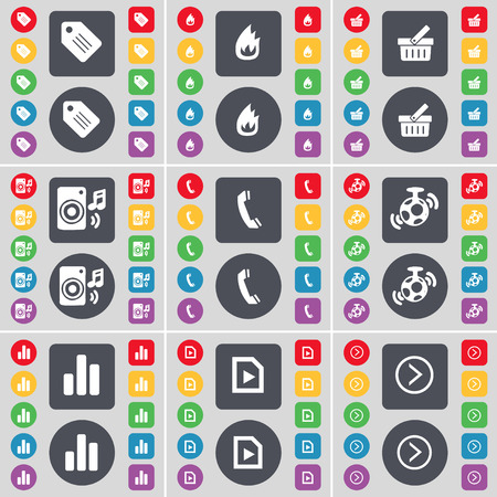 arrow right icon: Tag, Fire, Basket, Speaker, Receiver, Speaker, Diagram, Media play, Arrow right icon symbol. A large set of flat, colored buttons for your design. illustration