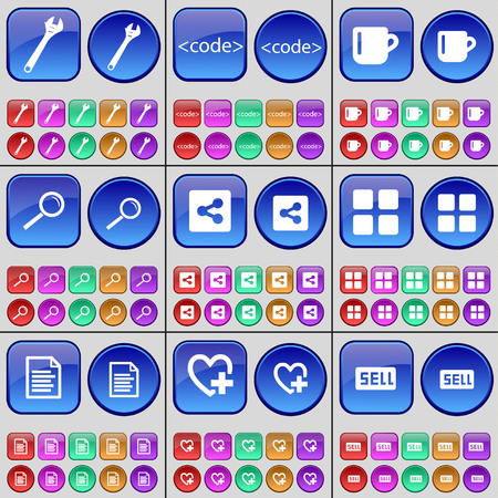 file share: Wrench, Code, Cup, Magnifying glass, Share, Apps, Text file, Heart, Sell. A large set of multi-colored buttons. illustration