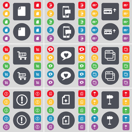 chat window: File, SMS, Cassette, Shopping cart, Chat bubble, Window, Exclamation mark, File, Signpost icon symbol. A large set of flat, colored buttons for your design. illustration
