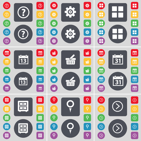 bedtable: Question mark, Gear, Apps, Calendar, Basket, Calendar, Bed-table, Checkpoint, Arrow right icon symbol. A large set of flat, colored buttons for your design. illustration Stock Photo