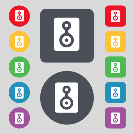 videotape: Video Tape icon sign. A set of 12 colored buttons. Flat design. illustration Stock Photo