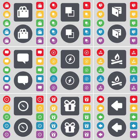 arrow left icon: Shopping bag, Copy, Wallet, Chat bubble, Flash, Campfire, Compass, Gift, Arrow left icon symbol. A large set of flat, colored buttons for your design. illustration