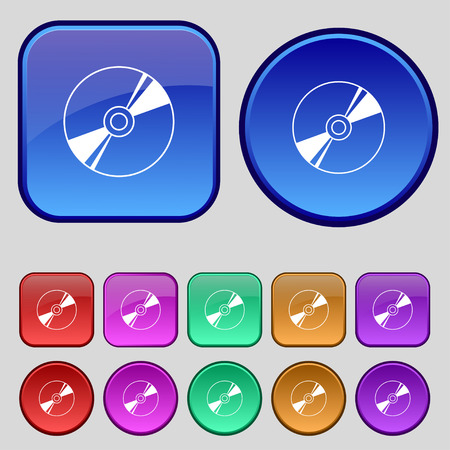 rewritable: Cd, DVD, compact disk, blue ray icon sign. A set of twelve vintage buttons for your design. illustration