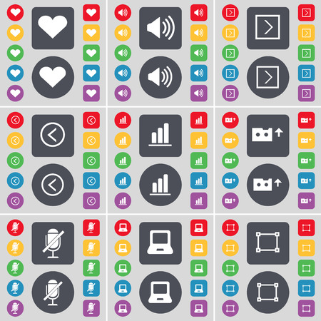 arrow right: Heart, Sound, Arrow right, Arrow left, Diagram, Cassette, Microphone, Laptop, Frame icon symbol. A large set of flat, colored buttons for your design. illustration