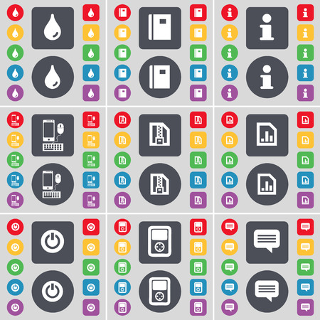 chat bubble icon: Drop, Notebook, Information, Smartphone, ZIP cart, Diagram file, Power, Player, Chat bubble icon symbol. A large set of flat, colored buttons for your design. illustration