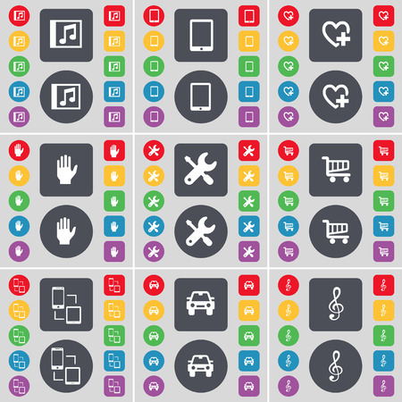 tablet pc in hand: Music window, Tablet PC, Heart, Hand, Wrench, Shopping cart, Connection, Car, Clef icon symbol. A large set of flat, colored buttons for your design. illustration