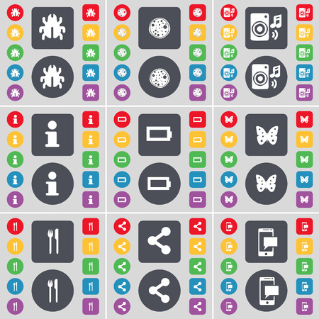 batterfly: Bug, Pizza, Speaker, Information, Battery, Batterfly, Fork and knife, Share, SMS icon symbol. A large set of flat, colored buttons for your design. illustration