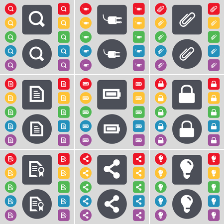 light socket: Magnifying glass, Socket, Clip, Text file, Battery, Lock, File, Share, Light bulb icon symbol. A large set of flat, colored buttons for your design. illustration