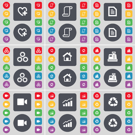 heart gear: Heart, Scroll, Text file, Gear, House, Cash register, Film camera, Graph, Recycling icon symbol. A large set of flat, colored buttons for your design. illustration