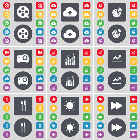 videotape: Videotape, Cloud, Pizza, Camera, Graph, Fork and knife, Light, Rewind icon symbol. A large set of flat, colored buttons for your design. illustration