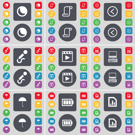 media player: Moon, Scroll, Arrow left, Microphone, Media player, Laptop, Umbrella, Battery, Diagram file icon symbol. A large set of flat, colored buttons for your design. illustration