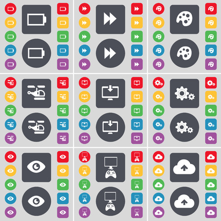 game console: Battery, Rewind, Palette, Helicopter, Monitor, Gear, Vision, Game console, Cloud icon symbol. A large set of flat, colored buttons for your design. illustration Stock Photo
