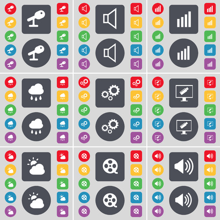 videotape: Microphone, Sound, Diagram, Cloud, Gear, Monitor, Weather, Videotape, Sound icon symbol. A large set of flat, colored buttons for your design. illustration