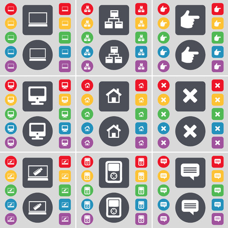 chat bubble icon: Laptop, Network, Hand, Monitor, House, Stop, Laptop, Player, Chat bubble icon symbol. A large set of flat, colored buttons for your design. illustration