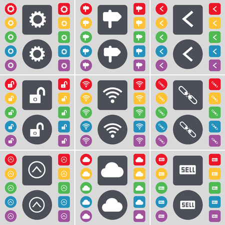 lock up: Gear, Signpost, Arrow left, Lock, Wi-Fi, Link, Arrow up, Cloud, Sell icon symbol. A large set of flat, colored buttons for your design. illustration