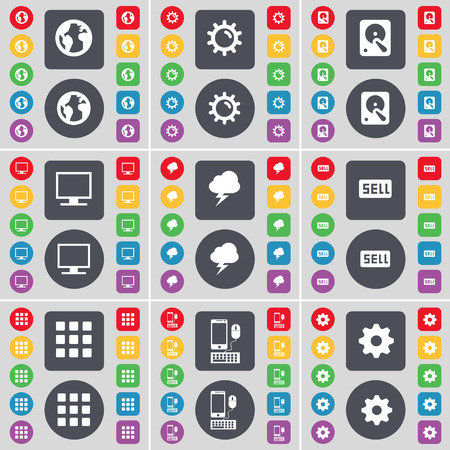 hard sell: Earth, Gear, Hard drive, Monitor, Lightning, Sell, Apps, Smartphone, Gear icon symbol. A large set of flat, colored buttons for your design. illustration