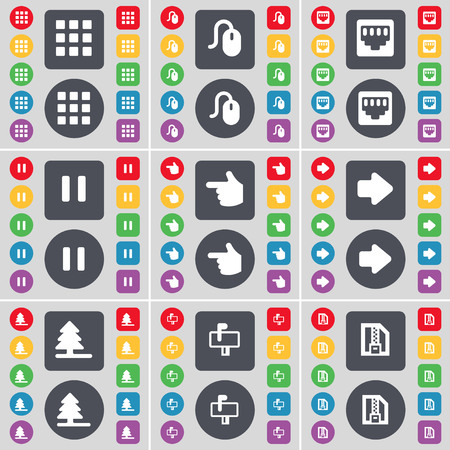 lan: Apps, Mouse, LAN socket, Pause, Hand, Arrow right, Firtree, Mailbox, ZIP file icon symbol. A large set of flat, colored buttons for your design. illustration