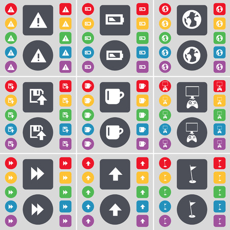 game console: Warning, Battery, Earth, Floppy, Cup, Game console, Rewind, Arrow up, Golf hole icon symbol. A large set of flat, colored buttons for your design. illustration Stock Photo
