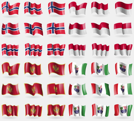 the federation: Norway, Indonesia, Montenegro, Bosnia and Herzegovina Federation. Set of 36 flags of the countries of the world. illustration