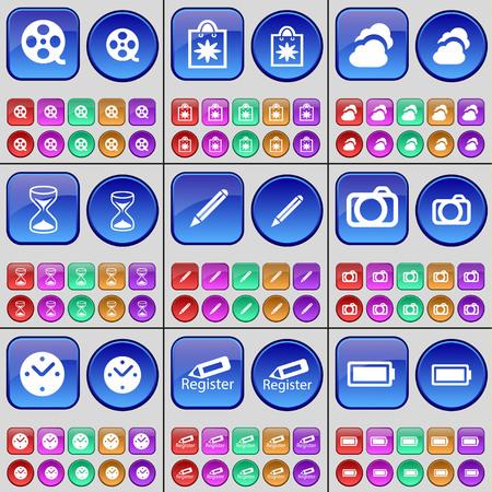 videotape: Videotape, Packet, Cloud, Hourglass, Pencil, Camera, Clock, Register, Battery. A large set of multi-colored buttons. illustration
