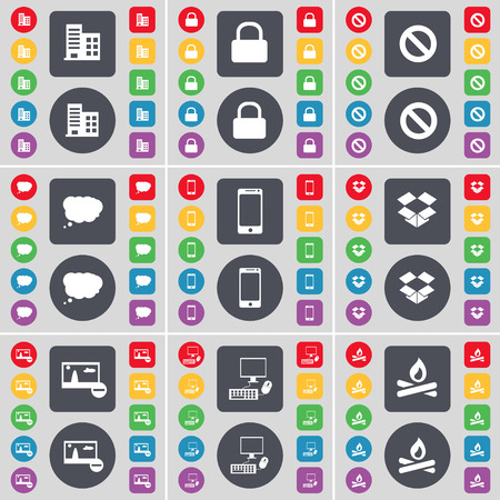 dropbox: Building, Lock, Stop, Chat cloud, Smartphone, Dropbox, Picture, PC, Campfire icon symbol. A large set of flat, colored buttons for your design. illustration Stock Photo
